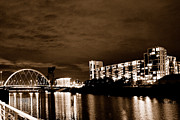 The Clyde Glasgow Prints - The Clyde at Night 3 Print by Serendipity Bay