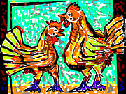Stories Digital Art Digital Art Metal Prints - The Cock And Hen Metal Print by Anand Swaroop Manchiraju