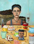 Kaffee Posters - The Coffee Addict brighter Poster by Leah Saulnier The Painting Maniac