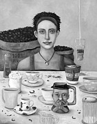 Bistro Paintings - The Coffee Addict In BW by Leah Saulnier The Painting Maniac