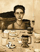 Bistro Paintings - The Coffee Addict In Sepia by Leah Saulnier The Painting Maniac