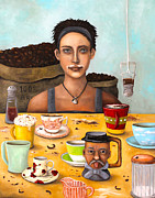 Kaffee Posters - The Coffee Addict Poster by Leah Saulnier The Painting Maniac