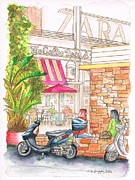 Cards Vintage Painting Prints - The Coffee Bean at Farmers Market - Los Angeles - CA Print by Carlos G Groppa
