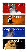 Specialty Framed Prints - The Coffee Cats... Framed Print by Will Bullas