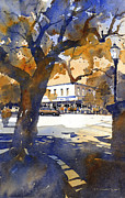 Watercolor  Painting Framed Prints - The College Street Oak Framed Print by Iain Stewart