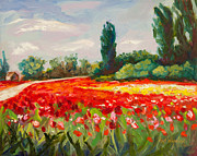 Poppy Painting Framed Prints - The Color Field Framed Print by Eve  Wheeler