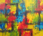 Abstract Impressionism Paintings - The Color Of Squares by Molly Roberts