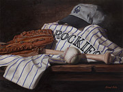 Baseball Glove Painting Posters - The Colorado Rockies Poster by Michael Malta