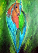 Indian Artist Prints - The Colorful Horse Print by Dipali Deshpande