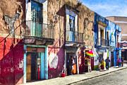 Colonial Scene Posters - The Colorful Streets of Puebla Mexico Poster by Mark E Tisdale
