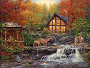 Hunting Cabin Painting Framed Prints - The Colors of Life Framed Print by Chuck Pinson