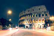 Roman Ruins Posters - The colosseum at night Poster by Matteo Colombo