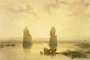 Flooding Painting Prints - The Colossi of Memnon Print by David Roberts