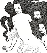 Gold Drawings Prints - The Comedy of the Rhinegold Print by Aubrey Beardsley