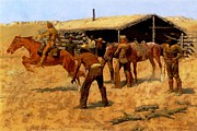 Frederic Remington Painting Framed Prints - The Coming and Going of the Pony Express Framed Print by Frederic Remington