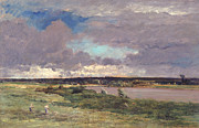 Green Field Paintings - The Coming Storm by Charles Francois Daubigny