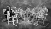 Human Skeleton Digital Art - The Committee Reaches Enlightenment II by Betsy A Cutler East Coast Barrier Islands