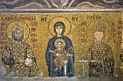 Christ Child Posters - The Comnenus mosaics in Hagia sophia Poster by Ayhan Altun