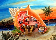 Tiki Bar Painting Prints - The Conch Shack Print by Abigail White