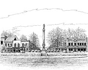 Downtown Franklin Drawings - The Confederate Monument by Janet King