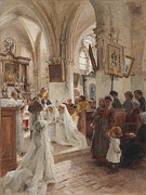 Dresses Metal Prints - The Confirmation Metal Print by Leon Augustin Lhermitte