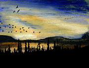 Geese Pastels - The Congregation by R Kyllo