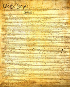 United States Mixed Media Metal Prints - The Constitution of the United States of America Metal Print by Design Turnpike