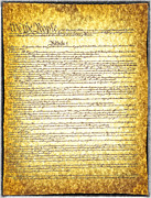 18th Century Digital Art - The constitution on vintage tattered paper  by Eti Reid