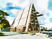 Cardboard Digital Art - The Construction of the Cardboard Cathedral  by Steve Taylor