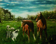Collie Painting Framed Prints - The Conversation Framed Print by Isabella F Abbie Shores
