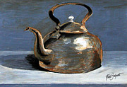 Teakettle Framed Prints - The Copper Kettle in Acrylics Framed Print by Ruth Bodycott