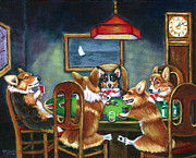 Animal Games Prints - The Corgi Poker Game Print by Lyn Cook