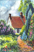 Cheerful Drawings Prints - The Cottage Garden Path Print by Carol Wisniewski