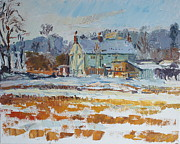 Shed Paintings - The Cottage Under Snow by Andrew Farmer
