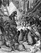 Animal Drawings Prints - The Council Held by the Rats Print by Gustave Dore