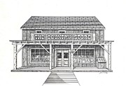 Country Store Drawings Framed Prints - The Country Store Framed Print by J W Kelly