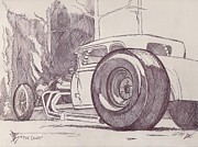 Funny Car Drawings - The Coupe by Larry Fox