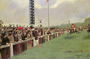 Horse Racing Painting Prints - The Course at Longchamps Print by Jean Beraud
