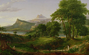 Lush Green Painting Posters - The Course of Empire   The Arcadian or Pastoral State Poster by Thomas Cole