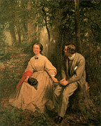 Woman In Tree Posters - The Courtship Poster by George Cochran Lambdin