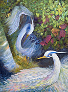 Egret Painting Originals - The Courtship by Joanne Smoley
