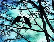 Crows Prints - The Courtship of Crows Print by Tammy Wetzel