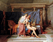 Helen Framed Prints - The Courtship of Paris and Helen Framed Print by Jacques Louis David