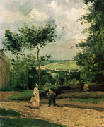 Tall Trees Paintings - The Courtyard at Louveciennes by Camille Pissarro