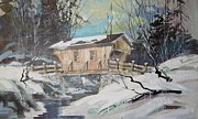 Covered Bridge Painting Metal Prints - The Covered Bridge Metal Print by Clifford Knoll