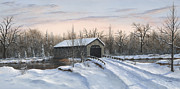 Covered Bridge Painting Metal Prints - The Covered Bridge Metal Print by Phil Christman