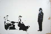 Police Officer Painting Metal Prints - The Cow Metal Print by Bela Manson
