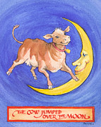 Nursery Rhyme Paintings - The Cow Jumped Over the Moon by Lora Serra
