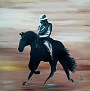 Courage Painting Originals - The Cowboy and Horse by Isabella F Abbie Shores