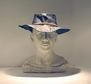 Portrait Sculpture Sculpture Prints - The cowboy Print by Flow Fitzgerald